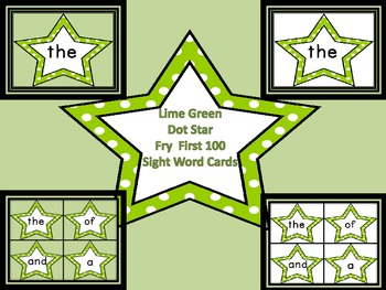 Lime Green Dot Star  Fry First 100 Sight Word Flashcards a