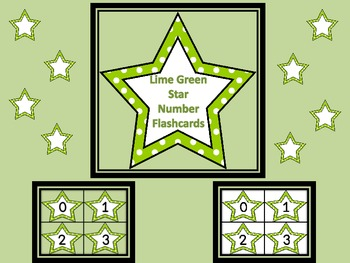 Lime Green Dot Star Number Flashcards 0-100