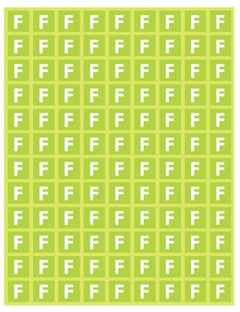 Lime Green F Note Tiles (Letter Size)