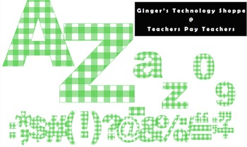 Lime Green Gingham * Check Pattern * Bulletin Board Letters * Numbers * Symbols