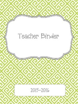 Lime Green Greek Key 2015-2016 Teacher Binder Planner