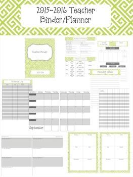 Lime Green Greek Key 2015-2016 Teacher Binder Planner