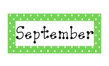 Lime Green Polka Dot Calendar Months