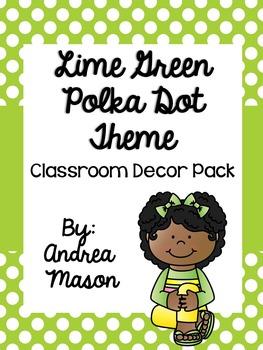 Lime Green Polka Dot Classroom Decor Pack