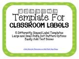 Lime Green Polka Dot Classroom Labels (Editable)