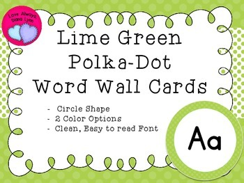 Lime Green Polka Dot Round Word Wall Letters