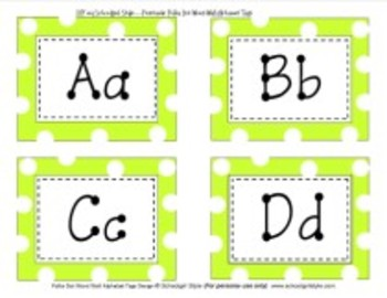 Word Wall Lime Green Polka Dot Alphabet Tags Classroom Decor