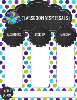 Editable Lime Green, Purple, and Teal Peacock Dismissal Form for Teacher Binder