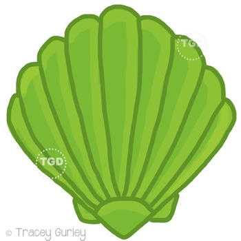Lime Green Scallop Shell - scallop shell Printable Tracey