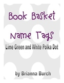 Lime Green, Sky Blue and White Theme Book Basket Tags