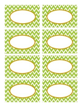 Lime Green Stitched Chevron and Brown Classroom Decor Labels