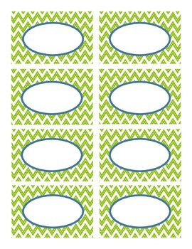 Lime Green Stitched Chevron and Navy Classroom Decor Labels