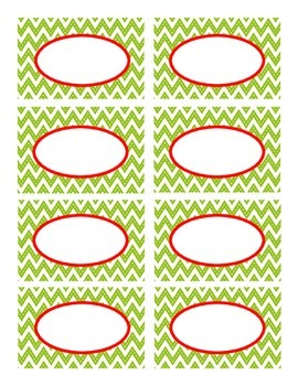 Lime Green Stitched Chevron with Red Holiday Classroom Decor Labels
