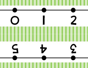 Lime Green Stripes Number Line Wall Display ~ -36 to 202