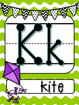 Lime Green Waves with Black and White bunting Alphabet Line