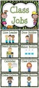 Lime Green Zebra Stripe Classroom Jobs Display & Clip Chart
