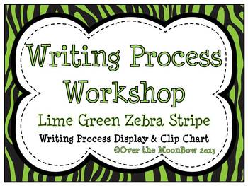 Lime Green Zebra Stripe Writing Process Workshop Displays & Clip Chart