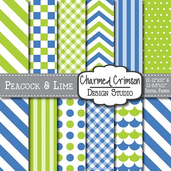 Lime Green and Blue Digital Paper 1189
