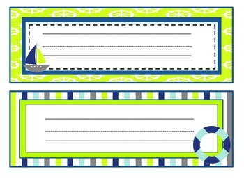 Lime Green and Blue Sailing into Learning Classroom Theme Pack