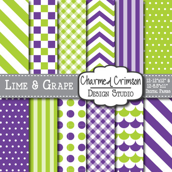 Lime Green and Grape Purple Digital Paper 1162