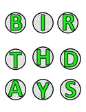 Lime Green and Purple Chevron Birthday Bulletin Board Labels