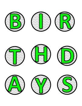 Lime Green and Purple Chevron Birthday Bulletin Board Labels