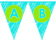 Lime Green and Turquoise Alphabet/Numbers Banner
