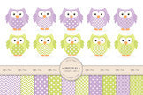 Lime & Lavender Vector Owls & Papers - Baby Owl Clipart, O