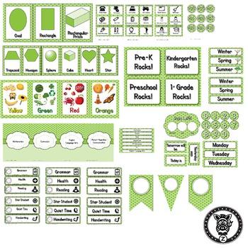 Classroom Theme Decor / Organization - Mega Bundle (Editable!) - Lime Polkadot