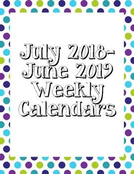 Lime, Purple, and Teal Polka Dot Weekly Calendars 2017-2018
