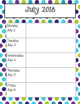 Lime, Purple, and Teal Polka Dot Weekly Calendars 2018-2019