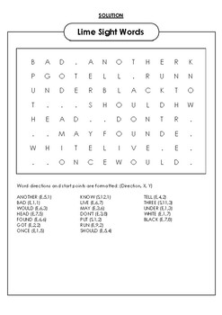 Lime Sight Words Word Search