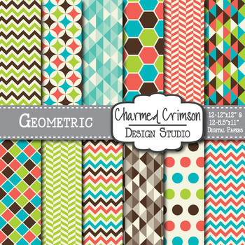 Lime, Teal, and Coral Geometric Digital Paper 1366