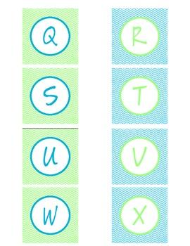 Lime and Aqua Alphabet