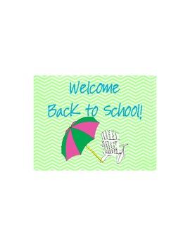 Lime and Aqua Beach  Back to School Postcard