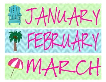 Lime and Aqua Beach Calendar Toppers