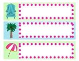 Lime and Aqua Beach Name Plates