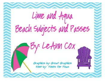 Lime and Aqua Beach Subjects and Passes