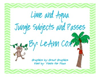 Lime and Aqua Jungle Subjects and Passes