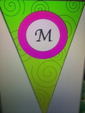 Lime and Hot Pink Pennant Welcome Banner with Black Swirls