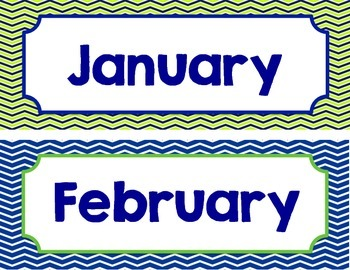Lime and Navy Calendar pieces