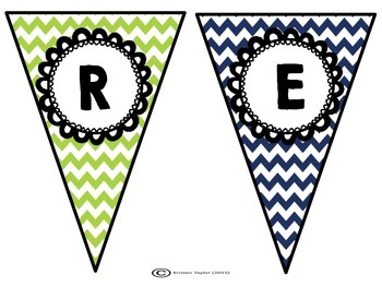 Lime and Navy Chevron Classroom Banners - All Subjects
