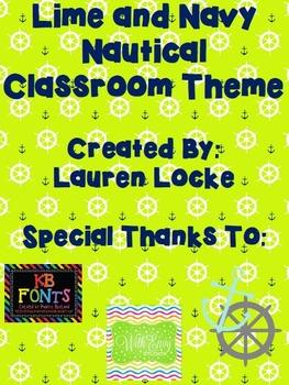 Lime and Navy Nautical Classroom Theme {printable classroo