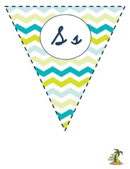 Lime and Teal Cursive Alphabet Pennant