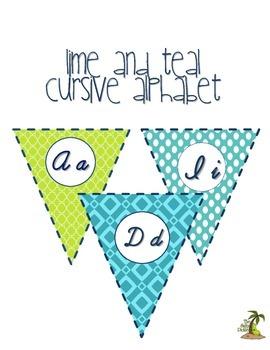 Lime and Teal Cursive Alphabet Pennant