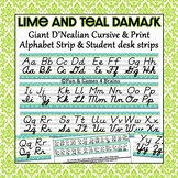 Lime and Teal Damask Themed cursive and print alphabet strip
