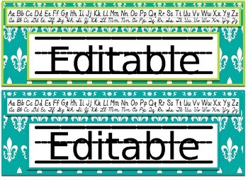 Lime and Teal Damask Themed editable nameplates