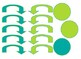 Lime and Teal Damask Themed giant classroom number line and student number lines
