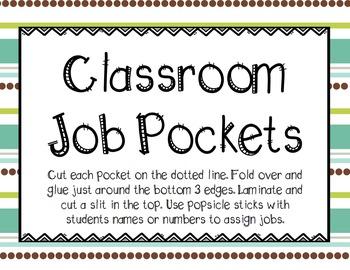 Lime and Teal Editable Class Job Pockets