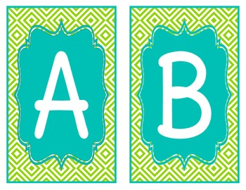 Lime and Teal Word Wall Alphabet